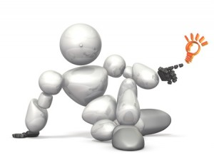 14716601 - humanoid robot has discovered new tips. this is a computer generated image,on white background.