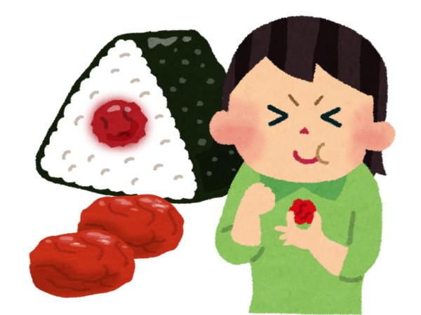 梅干を食べて身体反応している図