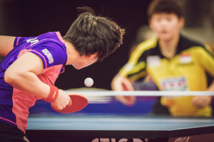 48185740 - stockholm, sweden - nov 15, 2015: final match in double between ye, yihan (sin) and meng, zi (chi) at the table tennis tournament soc at the arena eriksdalshallen.