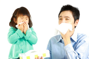 31942611 - sneezing father and daughter